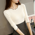 2016 New Winter Korean Style Slim Solid Sweaters Butterfly Collar Knitted Women Pullovers Ruffles Female Bottoming Tops