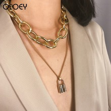 OLOEY 2019 Punk Womens Necklace Fashion Boho Multi-Layer Lock-Shaped Metal Necklaces Retro Female Alloy Sweater Chians Jewelry