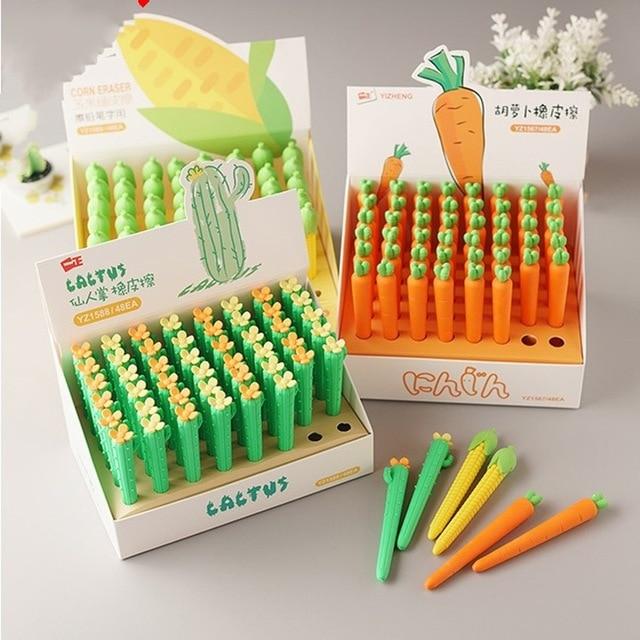 48 sztuk Kawaii Food Erasers Lot śliczne kaktus kukurydza marchew gumka do zmazywalny żel długopis i ołówki wielofunkcyjne przybory szkolne dla dzieci