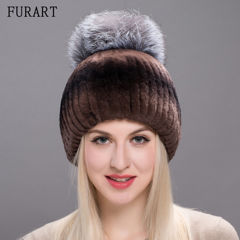 Fur Hat For Female With Luxury Fluffy Fox Fur Ball Russian Hats New Winter Warm Cap Genuine Rabbit Fur New Beanies Hats THY17-08 4pcs new for ball uff bes m18mg noc80b s04g