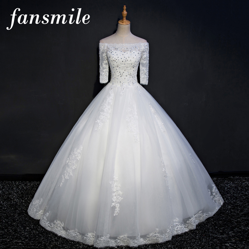 Fansmile Real Photo Sexy Lace Up Wedding Dresses 2017 Plus Size Vintage Bridal Dress Wedding Gown