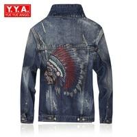 2018 mode Stickerei männer Denim Jacke Einreiher Vintage Loch Jacke Gewaschen Jean Jacke Herren Kleidung Anzug Veste Homme