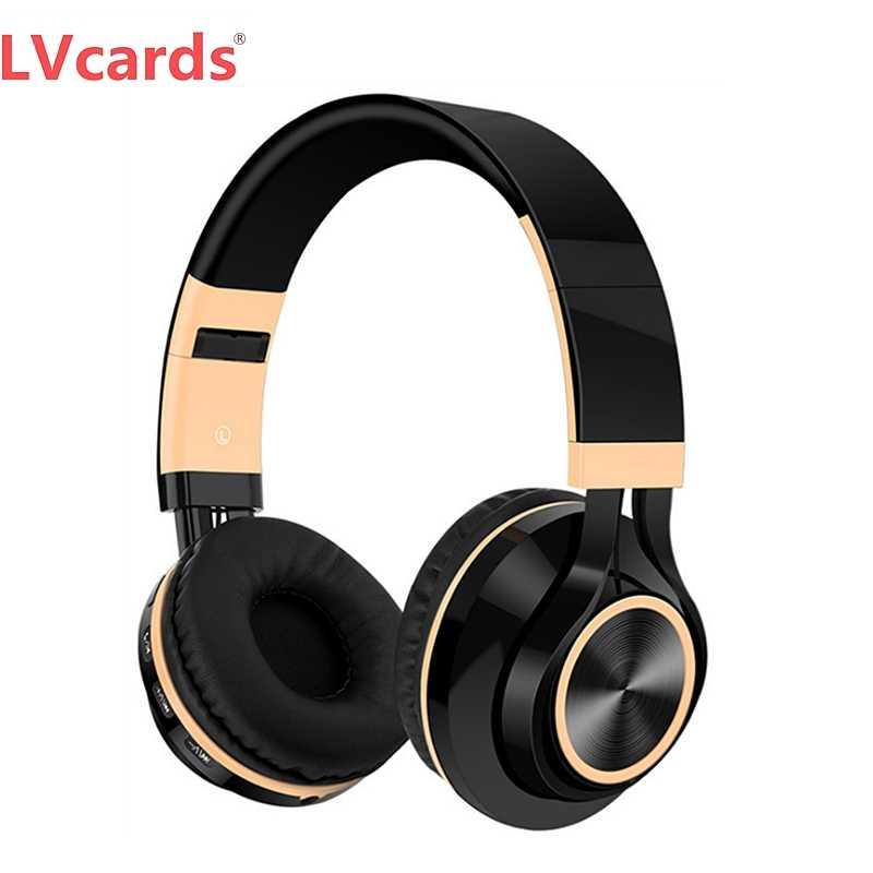 Lvcard سماعات لاسلكية سماعة رأس بخاصية البلوتوث سماعة رأس قابلة للطي وسماعات مع ميكروفون سماعة أذن تستخدم عند ممارسة الرياضة B1-01