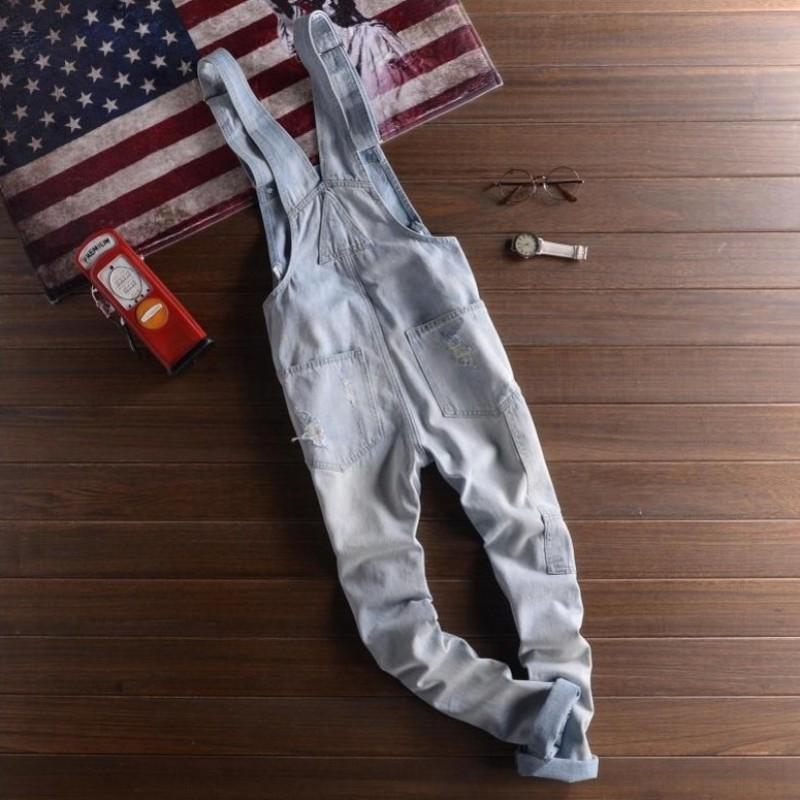 2019 New Fashion High Quality Camouflage Jeans Denim Overalls Men Casual Wash Skinny Pocket Overalls Jeans Male Jumpsuit Pants