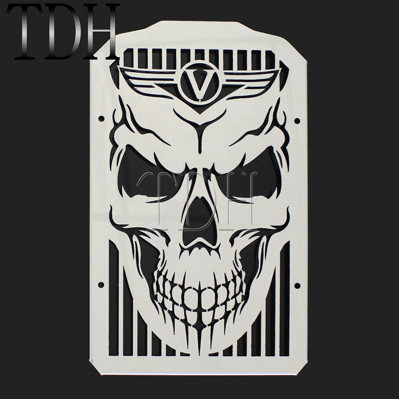 Skull Skeleton Radiator Grill For <font><b>Kawasaki</b></font> <font><b>Vulcan</b></font> 900 <font><b>VN900</b></font> Classic/LT VN 900 B C D Custom Water Cooler Grille Guard 2006-2019 image