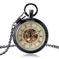 Chain Necklace Steampunk Roman Numerals Open Face Exquisite Pocket Watch Luxury Automatic Mechanical Self Winding Nurse