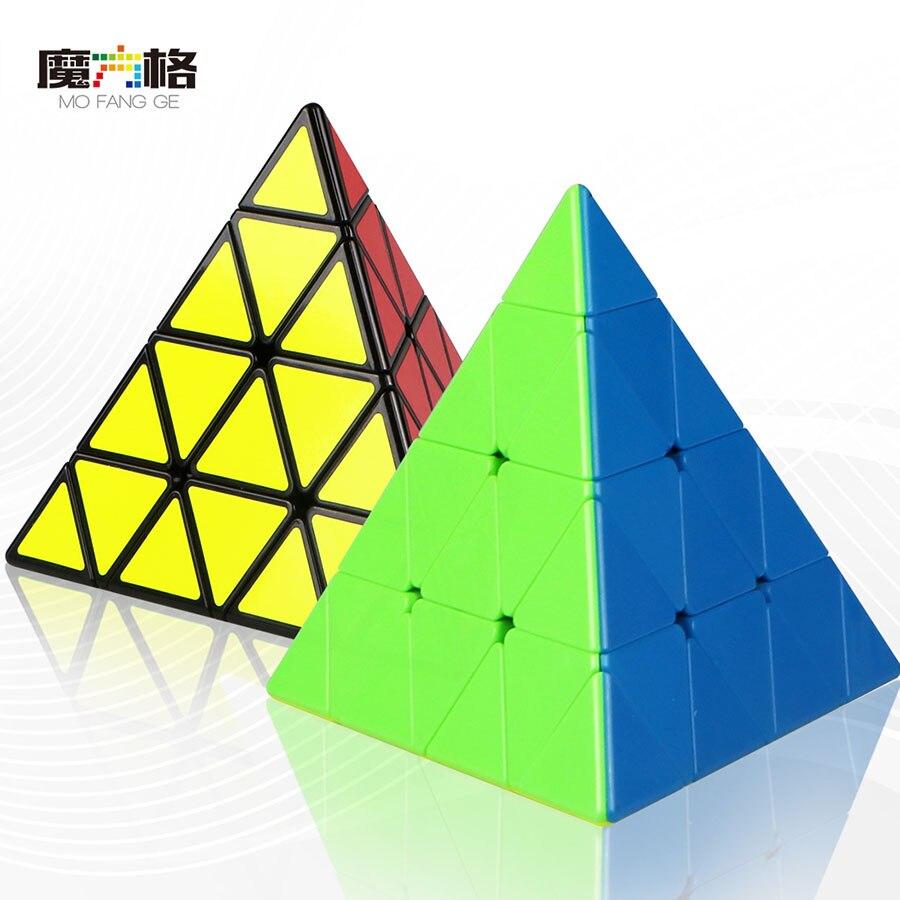 Mofangge Master Pyraminx Cube Black Stickerless Magic Cube Kilopyraminx Cube 4x4 Puzzle Pyramid Cube Special Toys