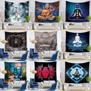 Image 1 - Indian Buddha Standbeeld Tapijt Muur Opknoping Muur Doek Chakra Wandtapijten Psychedelische Yoga Tapijt Woondecoratie