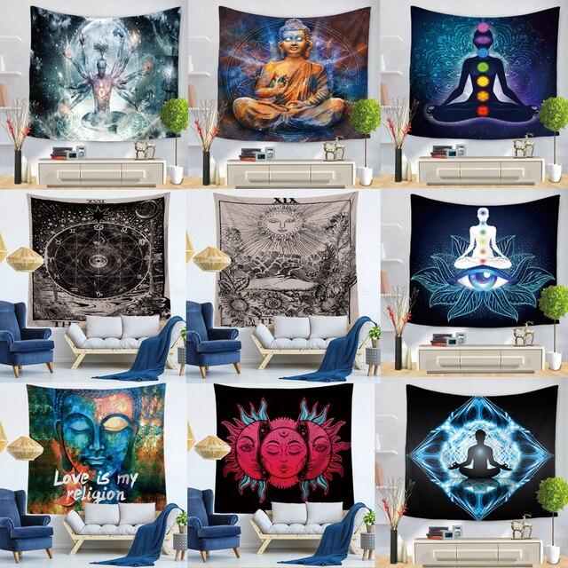 Indian Buddha Standbeeld Tapijt Muur Opknoping Muur Doek Chakra Wandtapijten Psychedelische Yoga Tapijt Woondecoratie
