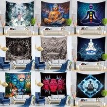 อินเดียพระพุทธรูป Tapestry แขวนผนังผ้า Chakra Tapestries Psychedelic โยคะพรมตกแต่ง