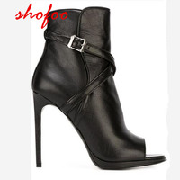 SHOFOO SHOES Beautiful And Stylish Black Leather Free Shipping 12 Cm High Heel Boots Boots Fish