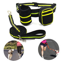 HANDS FREE DOG LEASH  Pet Elastic Belt with bungee Large storage pouch Adjustable waist For Sports running hiking walking hand free elastic dog leash adjustable padded waist reflective running jogging walking pet lead belt with pouch bags 4 colors