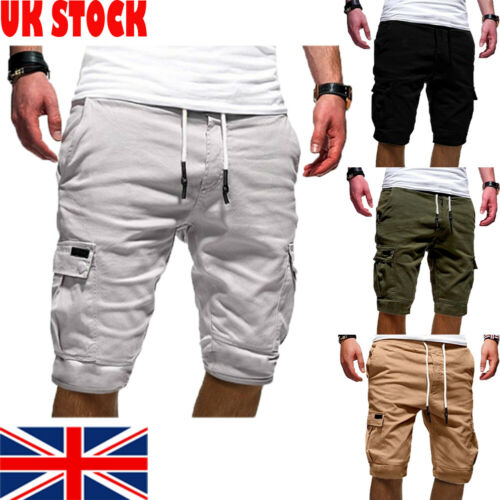 Stylish Hot Sale Men's Cargo Pockets Shorts Military Army Combat Camo Summer Casual Knee-length Lace-up Solid Shorts M-XXL