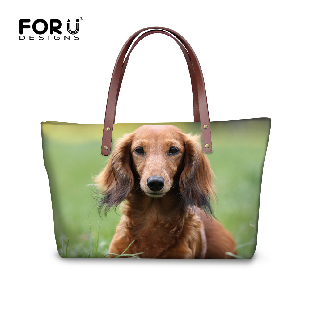 FORUDESIGNS Green 3D Dachshund Women Brand Handbag Dog Animal Woman Shoulder Bolsas Feminina Tote Woman Travel Bags Cross-body forudesigns candy color small handle bag woman casual handbag for girls luxury woman s leather handbags ladies cross body bolsas