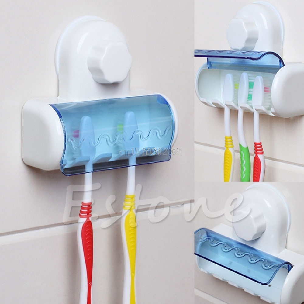 1 Set Toothbrush Spinbrush Suction Holder Wall Mount Stand Rack Home Bathroom image