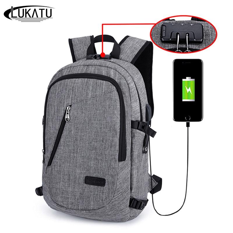 Lukatu Men Backpack Anti Theft Password Locks Man Usb Charging Laptop Backpacks Whit Headphone Plug Casual Travel Bags Mochila