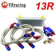 VR RACING UNIVERSAL 13 ROW AN10 ENGINE TRANSMISS OIL COOLER KIT FILTER RELOCATION BLUE