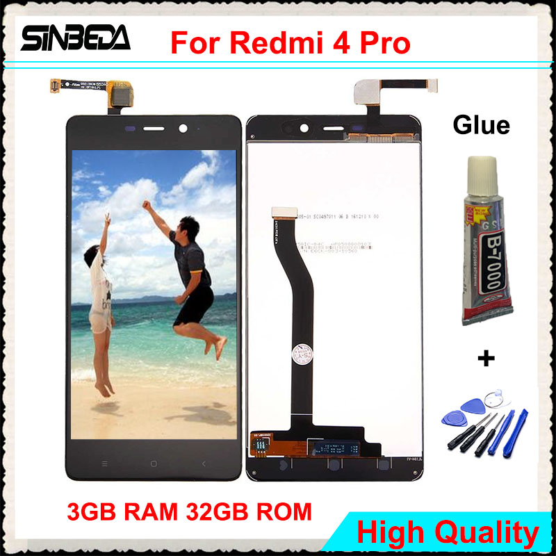 Sinbeda High Quality For Xiaomi Redmi 4 Pro 5.0 LCD Display Touch Screen Digitizer For Redmi Hongmi 4 Prime 3GB RAM 32GB ROM