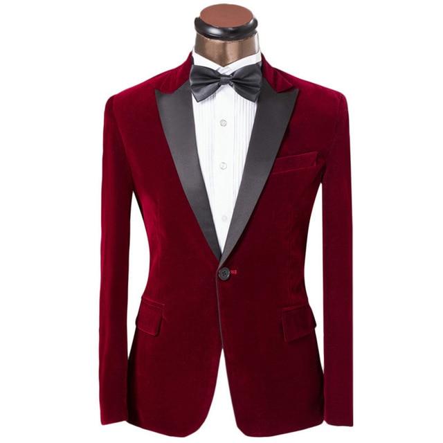 2017 New Elegant Red/Royal Blue/Black Velvet Groom Tuxedo Jacket Black Lapel Mens Blazer Slim Fit Suit Men Wedding Suits Sets V7