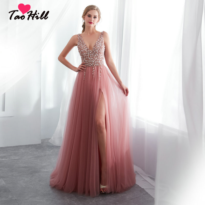 TaoHill Sexy V neck Beading Bean Powder Pink A line High Slit Lace Up Back Woman Dress Evening Dresses Gown