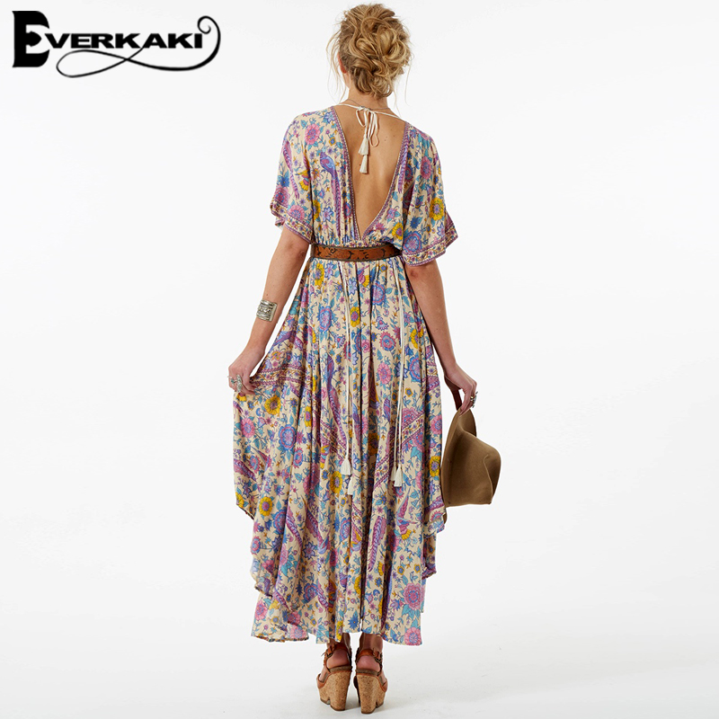 b3bdbb44ff71 Everkaki Women Lovebird Half Moon Gown Print Dress Summer Bohemian Lady V  Neck Drawstring Waist Gypsy Dresses With Tassel 2019-in Dresses from  Women's ...
