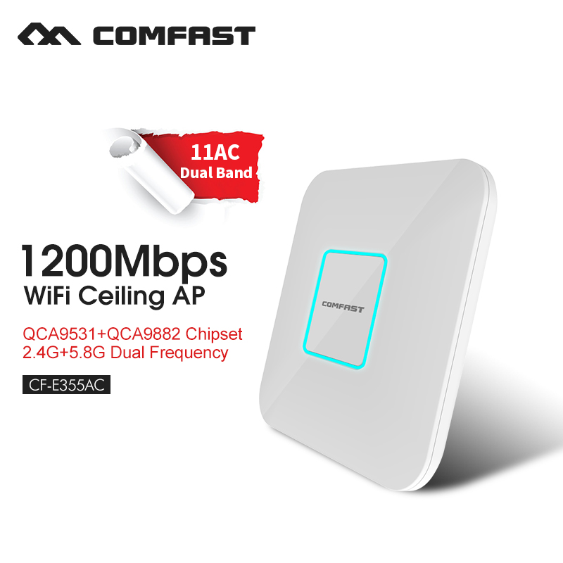 Gigabit wireless ceiling AP 2.4G&5.8G wireless wifi router network access point ac adapter 1200M speed COMFAST CF-E355AC