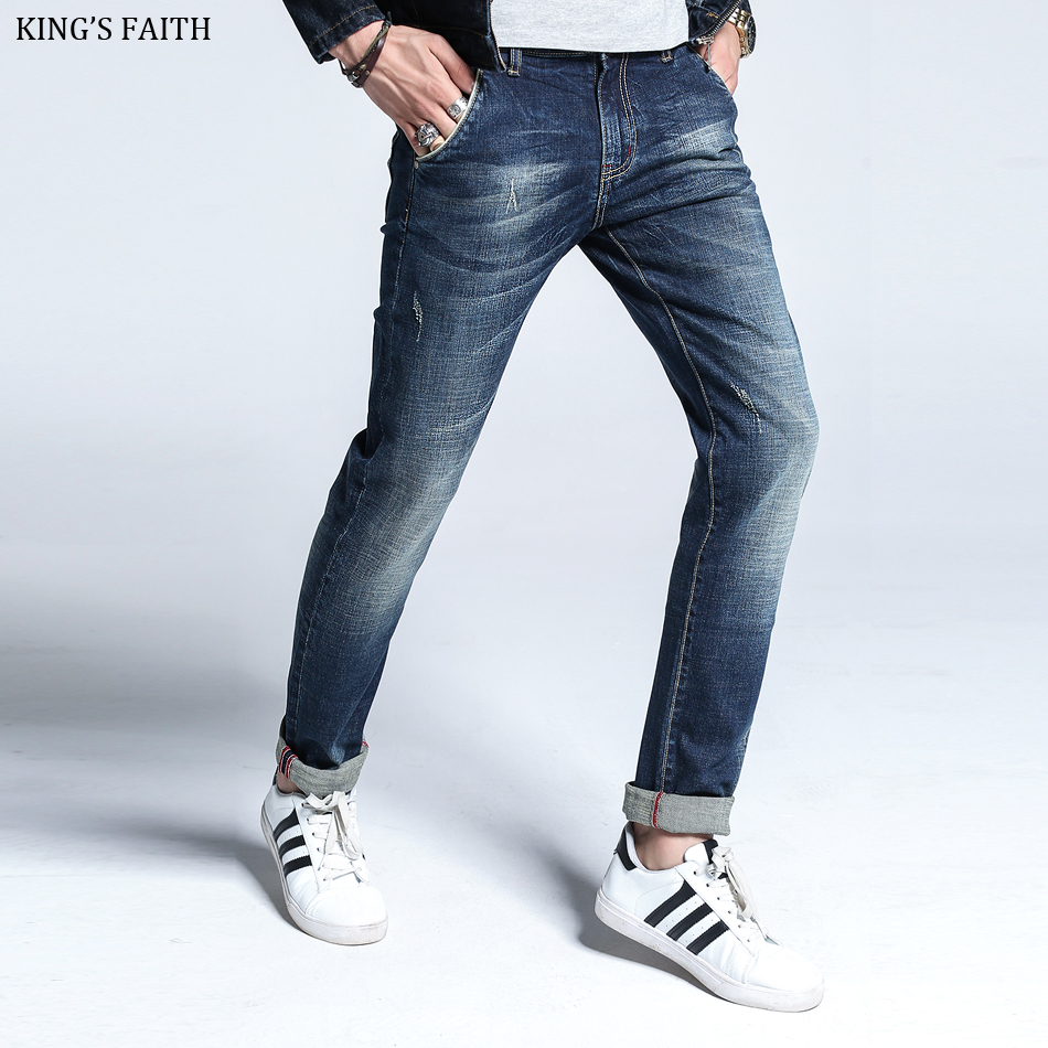 King's Faith 2017 Winter New Straight Thick Jeans Men Ripped Elastic Jean Silm Fit Mens Denim Casual Pants Cotton Plus Size 6381 men s cowboy jeans fashion blue jeans pant men plus sizes regular slim fit denim jean pants male high quality brand jeans