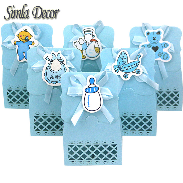 Simla Decor 24pcs Lot 6 Styles To ChooseBaby Boy Birthday Party Decoration Baby Shower Favor Gifts Cartoon Paper Candy Boxes