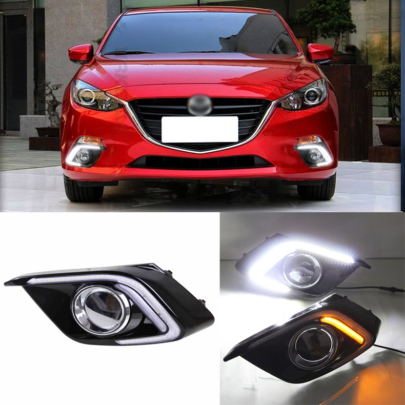 Brand New Updated LED Daytime Running Lights DRL With Black Foglights Cover For Mazda 3 Axela 2013-2014 brand new updated led daytime running lights drl with black foglights cover for mazda 3 axela 2013 14