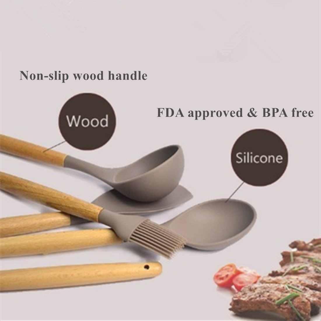 Кухонная утварь-набор силиконовой посуды из 9 предметов, набор шпатель с ручкой из бука-для антипригарных кастрюль