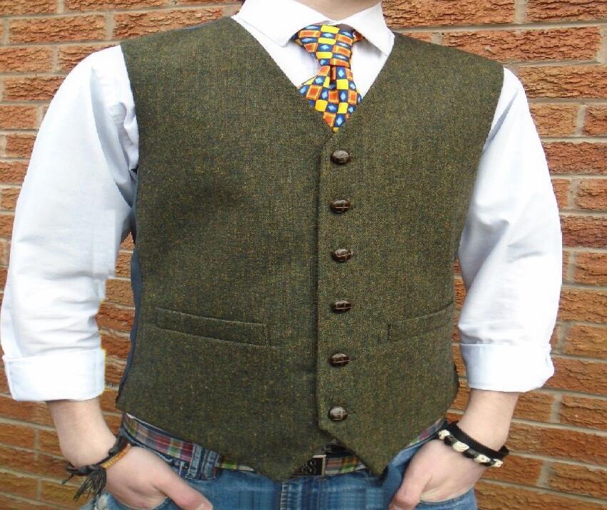 Зеленый твидовый винтажный деревенский свадебный жилет с кожаными пуговицами, зимний Приталенный жилет для жениха, смокинг, жилет для выпускного вечера - Цвет: only one vest