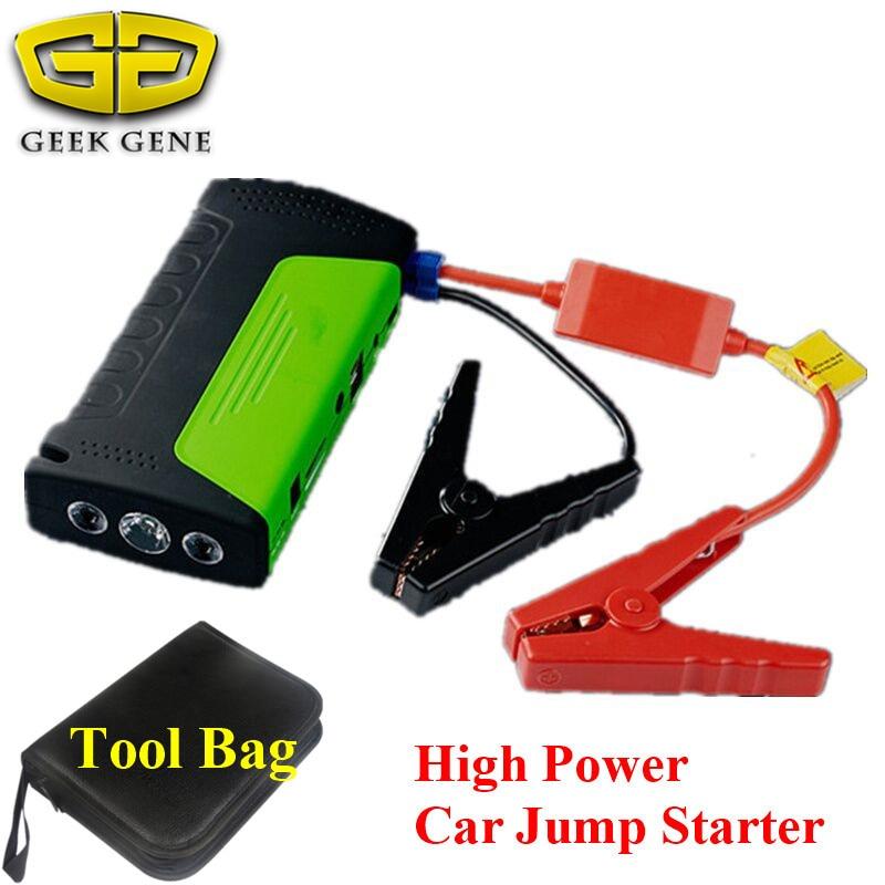 Geek Gene Best Selling Multi-Function Car Jump Starter 12V Mini <font><b>Portable</b></font> 2USB Mobile Phone Laptop <font><b>Power</b></font> Bank SOS Light Free Ship