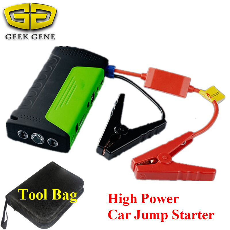 Geek Gene Best Selling Multi-Function Car Jump Starter 12V Mini Portable 2USB Mobile Phone Laptop Power Bank SOS Light Free Ship