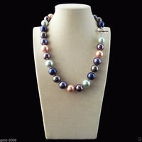 Rare Huge Mix Colors 14mm South Sea Shell Imitation Pearl Heart Clasp Necklace 18