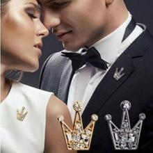 Женская эмалированная мини-брошь в виде короны, с кристаллами