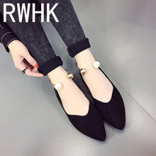 RWHK Single shoes women's shoes flat shoes pointed 2019 summer new wild Korean version of shallow mouth pearl flat shoes B445