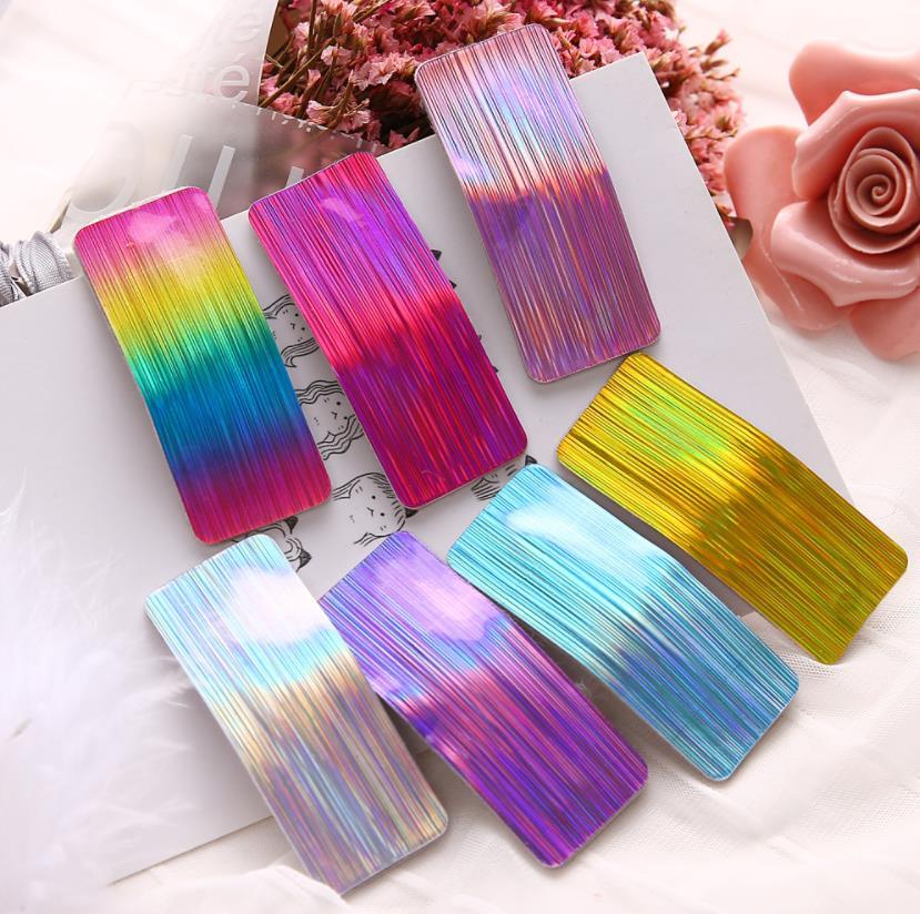7pcs/lot Girls Hair Accessories Set Geometric Hairpins Women Headdress Bright Colour Rectangle PU Sequins Hair Clips J88