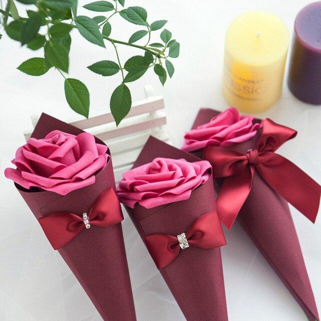 Conos de papel de 20 piezas, recuerdos de boda, caja de dulces con lazo de flores, helado, Decoración de mesa de boda DIY, Cajas de Regalo de fiesta, Bomboniera