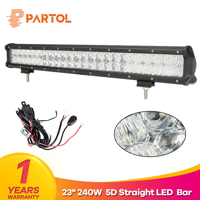 Partol 23 240W 5D LED Light Bar Spot Flood Combo Beam Car Work Light Bars Driving Lamp 4x4 Offroad 4WD 12V ATV SUV