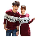 cute love couple sweater / dress costume 2016 autumn winter deer pattern long sleeve knit sweater great christmas valentine gift