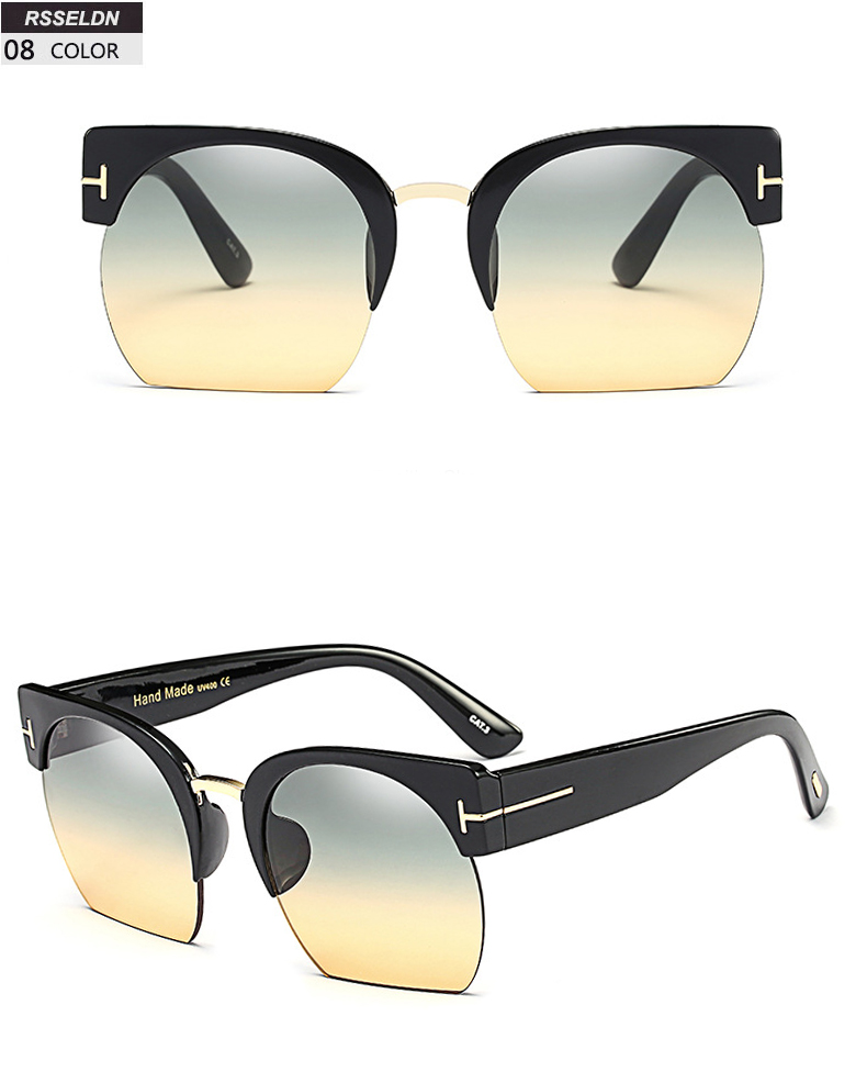 HTB1FfyhSpXXXXb1XXXXq6xXFXXXQ - RSSELDN Newest Semi-Rimless Sunglasses Women Brand Designer Clear Lens Sun Glasses For Women Fashion Sunglass Vintage oculos