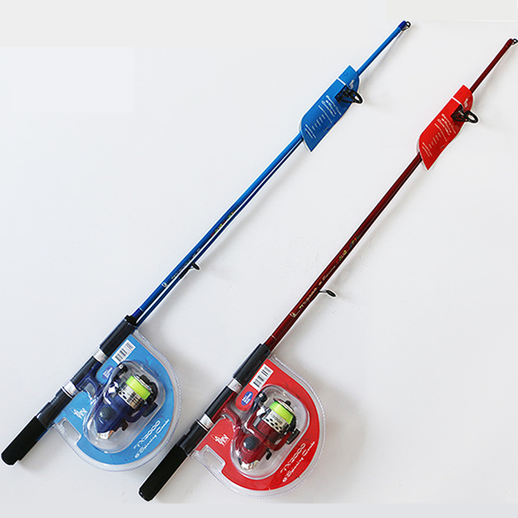 Children lure rod 1.8 meters 2 sections Beginner fishing rod lure fishing pole cute rod with spinning reel red or blue option