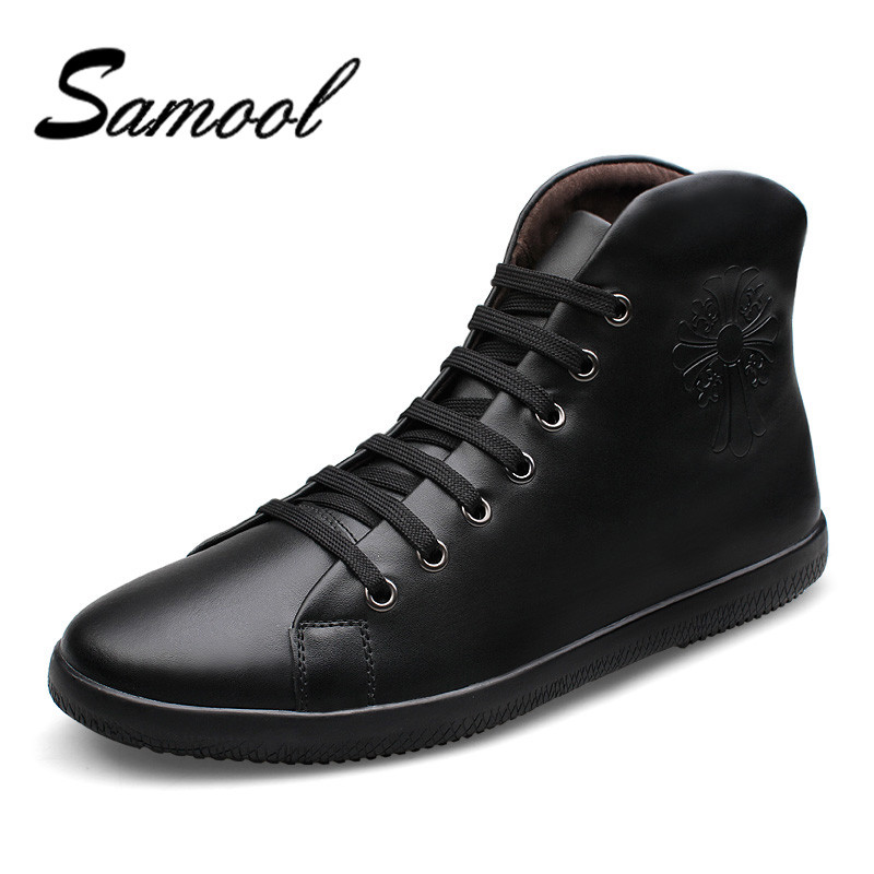 High Quality Men Genuine Leather Shoes Big Size 2017 Fashion High Top Men's Casual Shoes Man Lace Up Back Zipper Shoes QX3