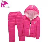 Children Set Boys Girls Clothing Sets Winter Hooded Down Jackets Trousers Waterproof Thick Warm Tracksuts Kids