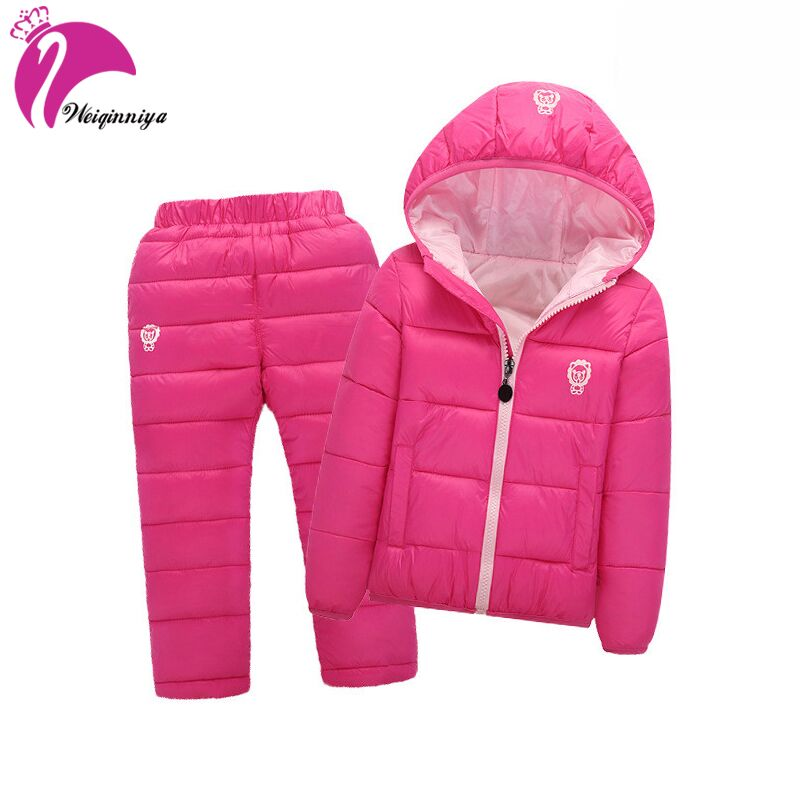 Children Set Boys Girls Clothing Sets Winter Hooded Down Jackets+Trousers Waterproof Thick Warm Tracksuit Kids Clothing Sets Hot 2 pcs children set baby boys girls clothing sets winter hooded down jackets trousers waterproof thick warm kids outerwear xl242