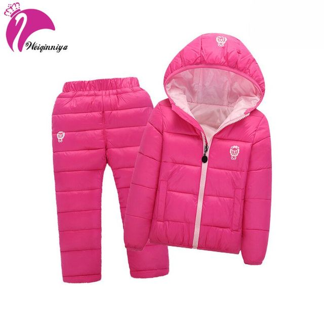 Children Set Boys Girls Clothing Sets Winter Hooded Down Jackets+Trousers Waterproof Thick Warm Tracksuts Kids Clothing Sets Hot