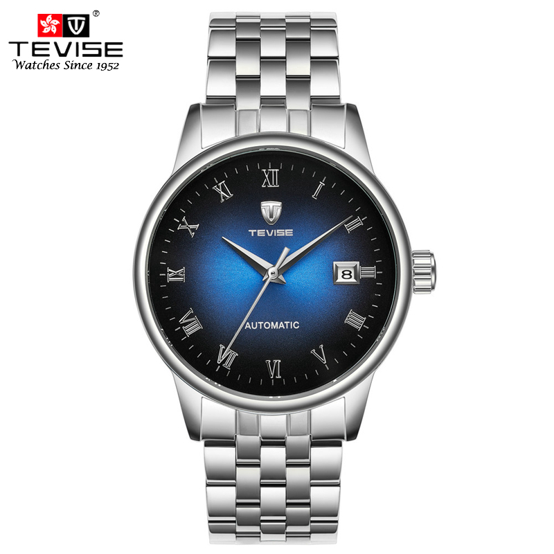 TEVISE Men Automatic Self-Wind Watch Silver Stainless Steel Auto Date Fashion Casual Skeleton Mechanical Wristwatch NT80 tevise fashion casual men automatic watch silver stainless steel auto date mechanical self wind original brand wristwatch 8377g