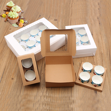 20pcs cupcake paper packaging White Brown kraft paper cake box window Gift Packaging Wedding home party Mousse cup chiffon box цена и фото