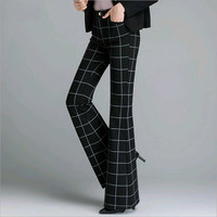 2018 spring and autumn female women girls Fashion casual plus size high waist plaid flare pants trousers clothes 79023