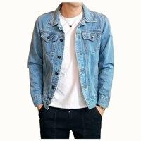 Cotton Solid Denim Jacket Mens 2018 Spring Autumn Casual Slim Fit Bomber Jackets Men Jean Jacket Mens Outwear Male Cowboy M 4XL